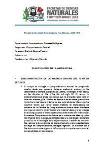 Planificación Anual de Actividades Académicas- AÑO 2013 PLANIFICACIÓN DE LA ASIGNATURA