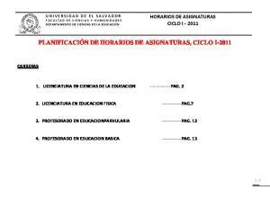 PLANIFICACIÓN DE HORARIOS DE ASIGNATURAS, CICLO I-2011