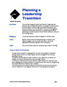 Planning a Leadership Transition