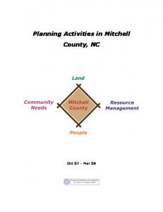 Planning Activities in Mitchell County, NC