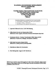 PLANNING AND ECONOMIC DEVELOPMENT POLICY COMMITTEE AGENDA