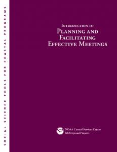 Planning and Facilitating Effective Meetings