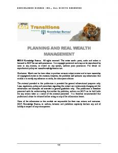 PLANNING AND REAL WEALTH MANAGEMENT