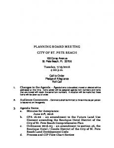 PLANNING BOARD MEETING CITY OF ST. PETE BEACH