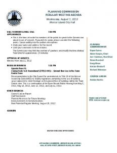PLANNING COMMISSION REGULAR MEETING AGENDA