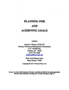 PLANNING FOR AND ACHIEVING GOALS