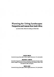 Planning for Living Landscapes Perspectives and Lessons from South Africa