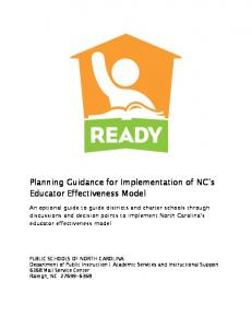 Planning Guidance for Implementation of NC s Educator Effectiveness Model