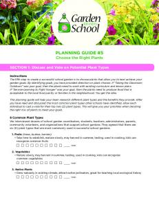 PLANNING GUIDE #5 Choose the Right Plants