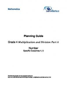 Planning Guide. Number Specific Outcomes 4, 5