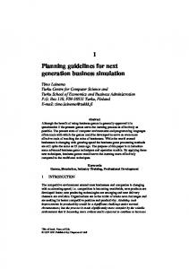 Planning guidelines for next generation business simulation