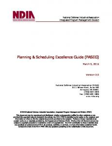 Planning & Scheduling Excellence Guide (PASEG)