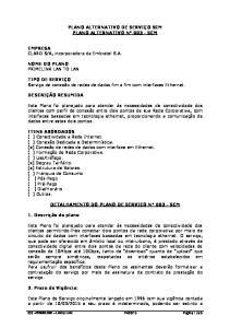 PLANO ALTERNATIVO DE SERVIÇO SCM PLANO ALTERNATIVO N SCM