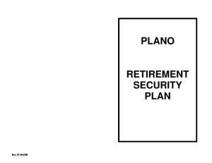 PLANO RETIREMENT SECURITY PLAN
