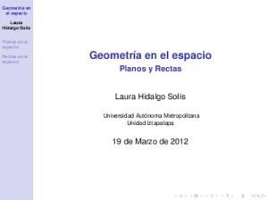 Planos y Rectas. 19 de Marzo de 2012