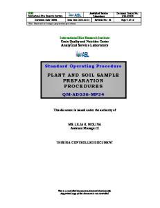 PLANT AND SOIL SAMPLE PREPARATION PROCEDURES
