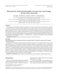 Plant growth, yield and fruit quality of Lane Late navel orange on four citrus rootstocks