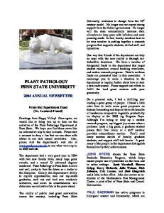 PLANT PATHOLOGY PENN STATE UNIVERSITY