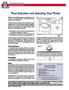 Plant Selection and Selecting Your Plants