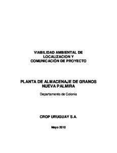 PLANTA DE ALMACENAJE DE GRANOS NUEVA PALMIRA
