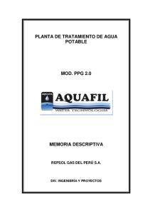 PLANTA DE TRATAMIENTO DE AGUA POTABLE MOD. PPG 2.0