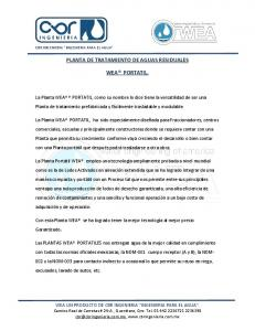 PLANTA DE TRATAMIENTO DE AGUAS RESIDUALES WEA PORTATIL