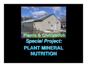Plants & Civilization. Special Project: PLANT MINERAL NUTRITION