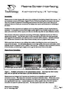 Plasma Screen Interfacing