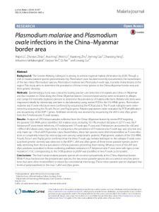 Plasmodium malariae and Plasmodium ovale infections in the China Myanmar border area