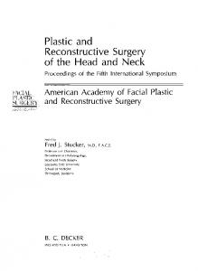 Plastic and Reconstructive Surgery of the Head and Neck