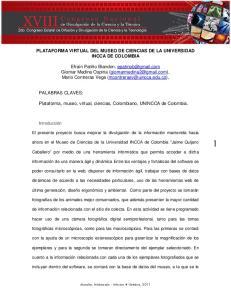 PLATAFORMA VIRTUAL DEL MUSEO DE CIENCIAS DE LA UNIVERSIDAD INCCA DE COLOMBIA