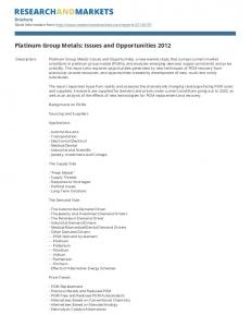 Platinum Group Metals: Issues and Opportunities 2012