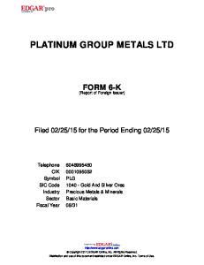 PLATINUM GROUP METALS LTD