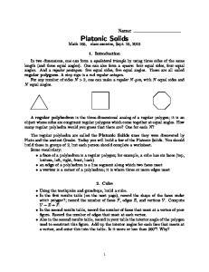 Platonic Solids. Math 165, class exercise, Sept. 16, 2010