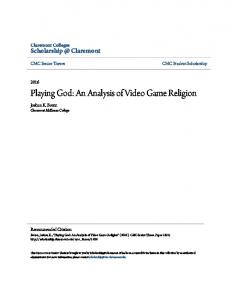 Playing God: An Analysis of Video Game Religion