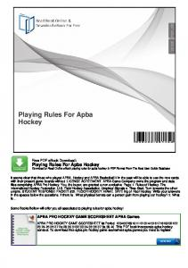 Playing Rules For Apba Hockey