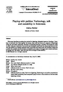 Playing with publics: Technology, talk and sociability in Indonesia