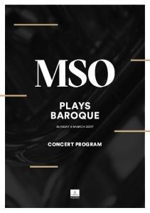 PLAYS BAROQUE CONCERT PROGRAM