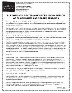 PLAYWRIGHTS' CENTER ANNOUNCES SEASON OF PLAYWRIGHTS AND STAGED READINGS