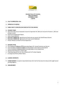 PLEASANT HILL CITY COUNCIL REGULAR SESSION OCTOBER 22, :30 PM
