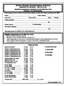 Please complete and return to: School of Nursing, Northern Michigan University, 1401 Presque Isle, Marquette, MI