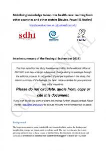 Please do not circulate, quote from, copy or cite this document