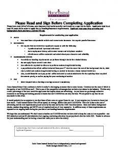Please Read and Sign Before Completing Application