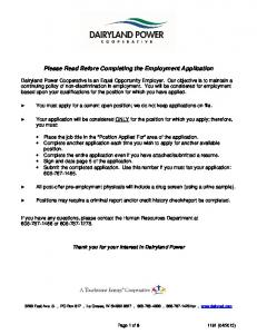 Please Read Before Completing the Employment Application