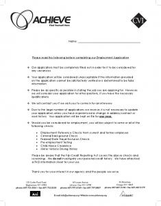 Please read the following before completing our Employment Application