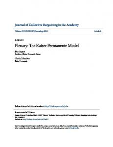 Plenary: The Kaiser Permanente Model