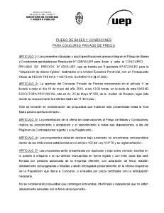 PLIEGO DE BASES Y CONDICIONES PARA CONCURSO PRIVADO DE PRECIO