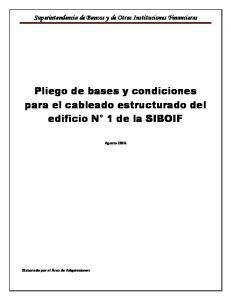 Pliego de bases y condiciones para el cableado estructurado del edificio N 1 de la SIBOIF