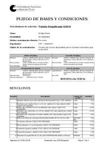 PLIEGO DE BASES Y CONDICIONES