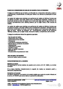 PLIEGO DE CONDICIONES DE SUELOS DE MADERA PARA EXTERIORES